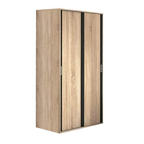 Armario Dos Puertas correderas Dormitorio habitación, Acabado en Color Grafito y Cambria, Modelo Lara, Medidas: 120 cm (Largo) x 207 cm (Alto) x 55 cm (Fondo)