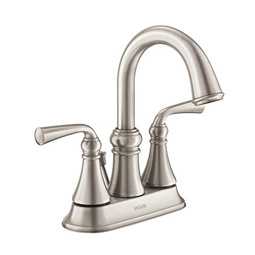 Moen WS84850SRN Wetherly Two-Handle Centerset Bathroom Faucet with Drain Assembly, Spot Resist Brushed Nickel