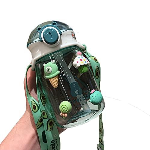 AOTEMAN Taza de agua para niños, de plástico, para verano, para niños, con pajita, a prueba de goteo, botella de agua, ideal para el trabajo, viajes, deportes, 420 ml (verde)