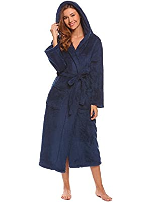 Ekouaer Womens Fleece Robes Plush Thick Long Sleeve Hooded Bathrobe with Pocket