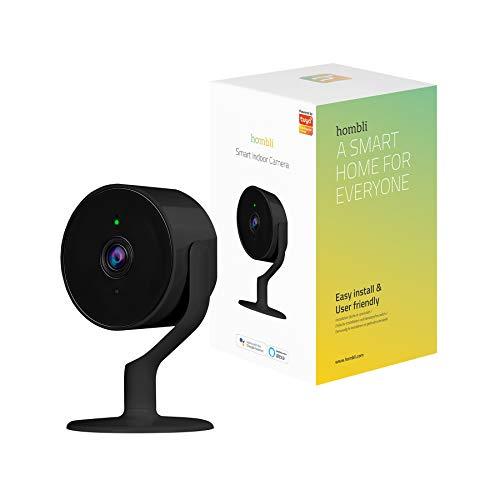 Hombli Cámara Inteligente Interior Wi-Fi Negro, Cámara de Vigilancia con Detección de Movimiento, Compatible con Alexa, Google Assistant, 1080P Full HD, Audio de 2 Vías, Visión Nocturna – Hombli App