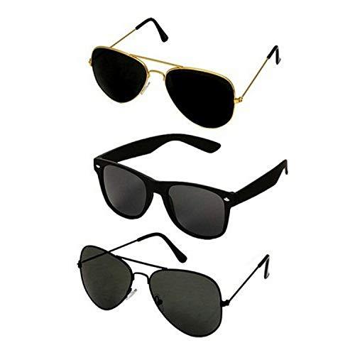 Dervin Unisex Aviator and Rectangular Sunglasses (55, Black) - Combo of 3