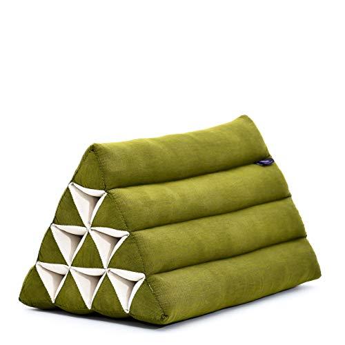 Leewadee Triangle Cushion Reading Pillow Backrest TV Pillow Eco-Friendly Organic and Natural, 50x33x33 cm, Kapok, green