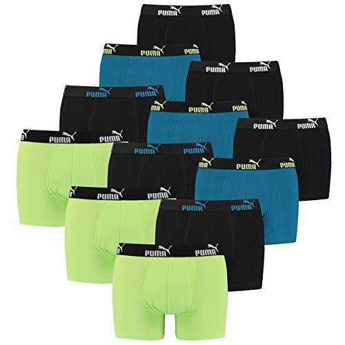 PUMA 12 er Pack Boxer Boxershorts Herren Unterwäsche sportliche Retro Pants, Farbe:Petrol Blue, Bekleidungsgröße:L