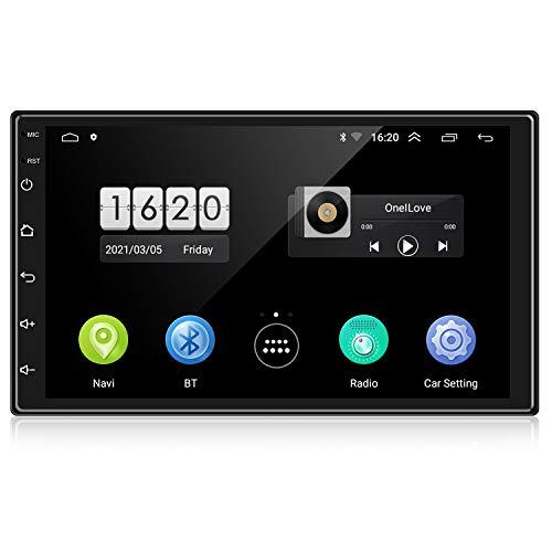 ENGERWALL 7 Pulgadas RDS+Android 10 Radio Coche 2 DIN 1080P HD Pantalla Táctil Car Stereo Bluetooth con WiFi+Llamadas Manos Libres+Audio/Video+Navegación GPS+Cámara de Visión Trasera+USB Doble