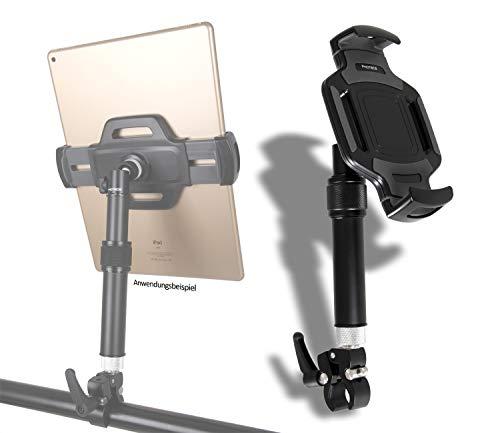 """PHOTECS® Tablet-Halterung Pro V5, höhenverstellbar, für iPad Pro und andere Tablet-PC´s (von 6\"""" bis 14 Zoll) an Rudergerät, Heimtrainer, Ergometer, Kommissionierwagen etc. (V5-K2, mit Klemme Typ2)"""