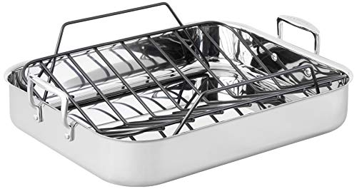 """Le Creuset Stainless Steel Roasting Pan with Nonstick Rack, 16.25 x 13.25"""""""