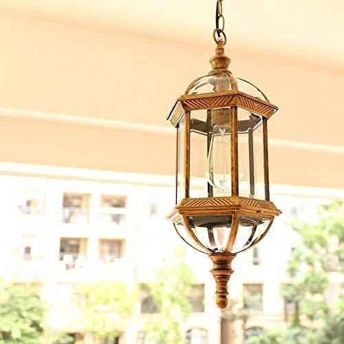 Bradoner Lámpara de Techo de Vidrio de Alto Brillo al Aire Libre, luz Exterior Impermeable, luz de Colgante, araña Ajustable de Paisaje Antiguo, Villa Porche terraza Cerca Chandelier E27