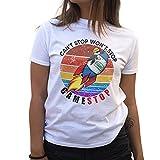 GameStop To The Moon Game Stonk Camiseta de Mujer Blanca Size XL