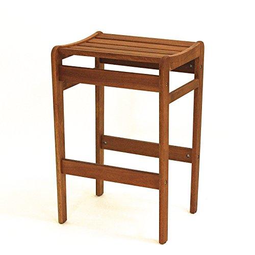 Tabouret de bar long en bois massif d'eucalyptus massif - Hauteur d'assise : 68 cm - Tabouret en bois d'eucalyptus massif - Table solide et stable - FSC N002524 - Chaises de café