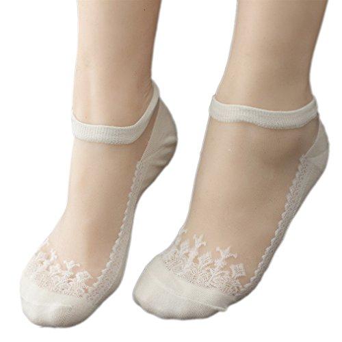 Ele Gens 5er Pack Damen Spitze Füsslinge Ballerina Socken Sneakersocken (Beige)