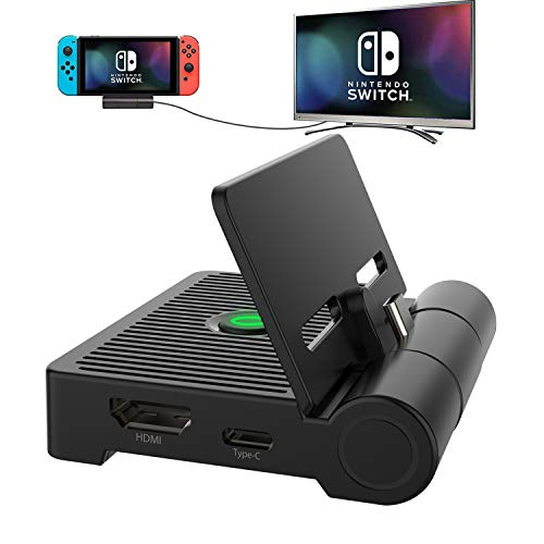 Kriogor Switch Dock,Base de Carga para Nintendo Switch,Mini estación de conexión para TV plegable con adaptador HDMI 4K, puerto USB 3.0 y soporte de carga USB C PD para Switch