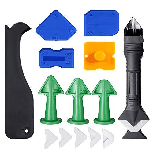15 Stück Silikonentferner Fugenwerkzeug mit Dichtung Werkzeug, Silikon-Dichtstoff-Werkzeug, Dichtungsmittel-Silikonentferner, Silikon Werkzeug Schaber Set, für Badezimmer, Zimmer, Küche, Bodenecke
