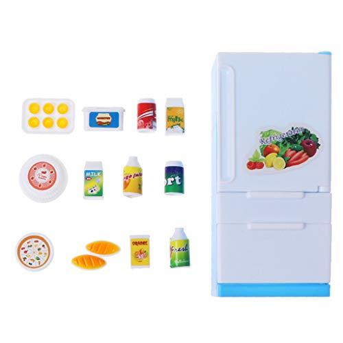 lijun Refrigerator Play Set Doll House Doll Frigorífico Congelador con Comida Juguete para niños