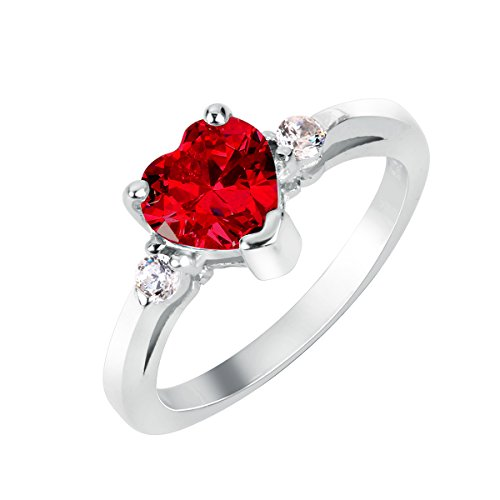 CloseoutWarehouse Simulated Ruby Cubic Zirconia Heart Promise Ring Sterling Silver Size 9