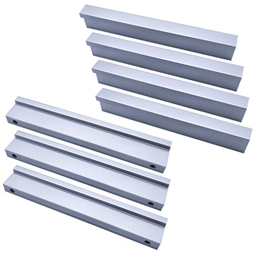 Qrity Maniglia per cassetto mobili, 90° L stile, alluminio, Lunghezza 110mm (interasse: 96mm), Confezione da 10 pezzi, Argento