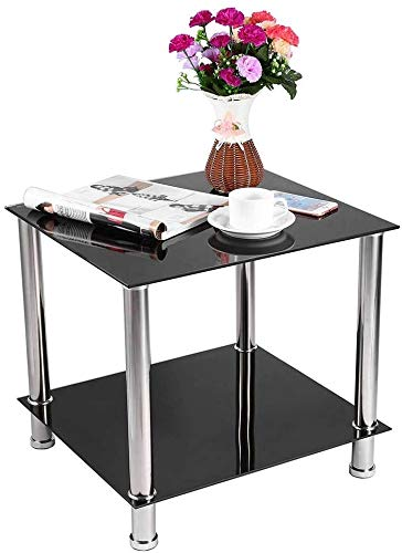 SENLUOWX Living room modern coffee table, living room glass coffee table, single-sided safety glass and stainless steel,a