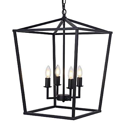 "19.1"" Farmhouse Chandelier 4-Light Black Lantern Pendant Light Fixture Industrial Vintage Lantern Iron Cage Hanging Light for Dining Room Kitchen Island Hallway Foyer"