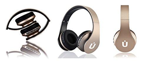 Ziu Smart Items - Auriculares Bluetooth inalámbricos, cancelación de Ruido, micrófono Incorporado, Radio, conexión Jack 3,5mm y Ranura para Tarjeta SD, Color Dorado