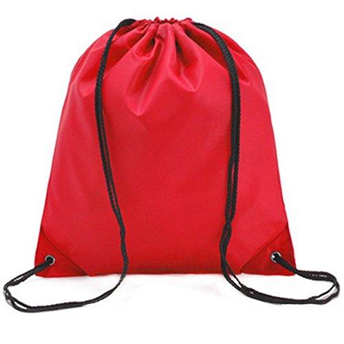 Gespout Sac à Dos Imperméable Tissu Oxford Poche à Cordon Sports de Plein air Voyager 34 * 39cm (Rouge)