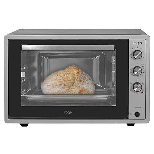ICQN 70XXL Mini-Öfen | 1800 W | Mini-Backofen mit Innenbeleuchtung und Umluft | Pizza-Ofen | Doppelverglasung | Drehspieß | Timer Funktion | Emailliert | Inox Grau | Inkl. Schürze