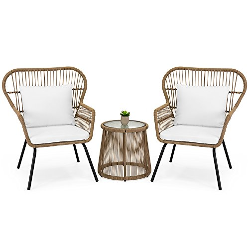 Best Choice Products 3-Piece Patio Wicker Conversation Bistro Set w/ 2 Chairs, Glass Top Side Table, Cushions - Tan