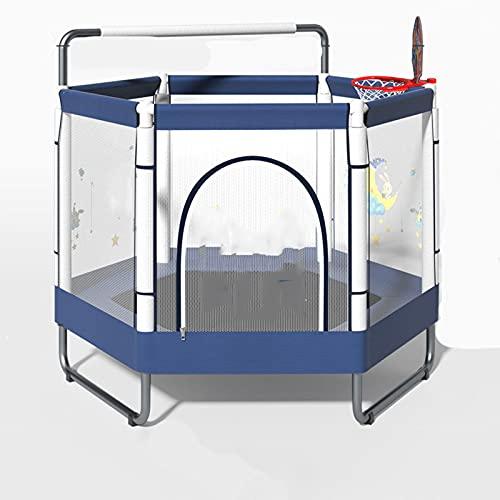 HXGLPSNG Trampolin für Kinder - Sicherheitseinhausung, Kindertrampolin für drinnen und draußen mit Basketballständer, Reck, Babytrampolin Spielzeug, Geburtstagsgeschenke für Kinder