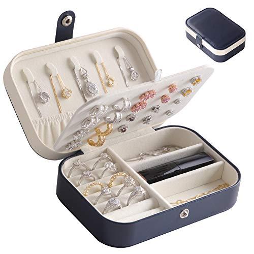 LARLARY Portagioie,porta gioielli donna,Organizer Gioielli per Anelli Orecchini Collane e Bracciali,16cm x 11cm x 5cm(Navy Blue)