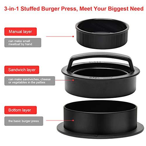 CoiTek 3 in 1 Burger Press, Stuffed Hamburger Maker with 100p Burger Paper for BBQ Non-Stick Sliders Beef Burger Press (Black)