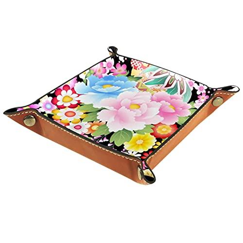 Bandeja de cuero para hombres y mujeres, organizador de escritorio personalizado para joyas, cosméticos, gafas, auriculares, oficina, uso en el hogar, fondo rosa de flores