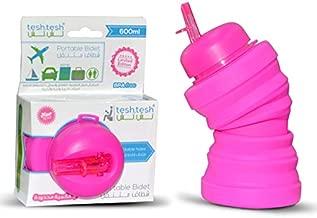 Tesh.tesh Portable Bidet- Collapsable Easy to Store- 600 ml Capacity Travel Wash- Easy to use Bidet Sprayer for toilet (Pink)