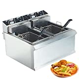 Freidora Comercial de Acero Inoxidable con Control de Temperatura, Freidora Eléctrica de Gran Capacidad, para Cocina en Casa, Restaurante (8L / 11L / 16L / 21L / 32L)