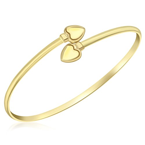Carissima Gold 9ct Yellow Gold Crossover Heart Bangle
