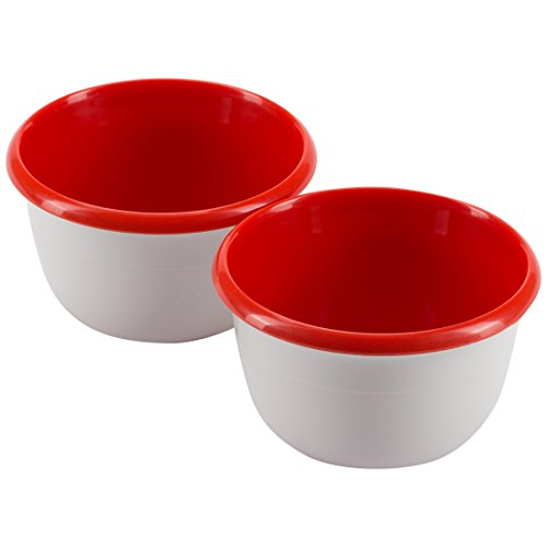 Trudeau Maison Leon Kids Bowl Small in a Set of 2, Stackable, Each 295 ml, White/Red