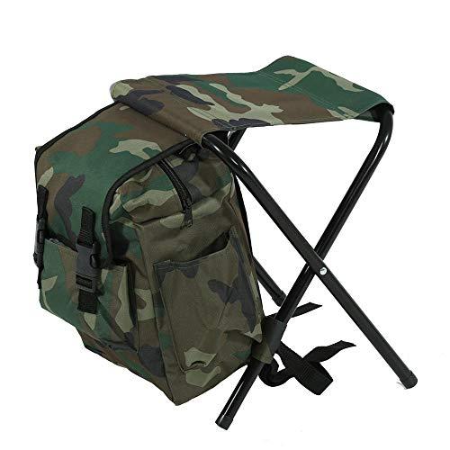 MLQ Chaise de pêche Portable extérieure Durable, Tabouret de Sac à Dos Pliable de Camouflage avec Sac de Rangement, pour l'escalade, la pêche, Le Camping, la Chasse