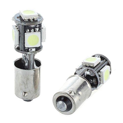 SODIAL 2x AMPOULE 5 LED 5050 SMD BA9S H6W T4W VEILLEUSE BLANC ANTI SANS ERREUR ODB Lampe