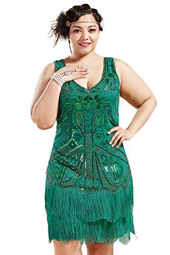 Coucoland 1920s Kleid Damen Plus Size Festlich V Ausschnitt Doppelschicht Fransen Charleston Pailletten Kleider Grosse Grössen Damen Gatsby Cocktail Fasching Kostüm Kleid (Grün, XXXL)