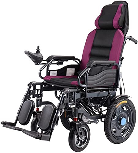MENG Electric Wheelchair, High Backrest, Full Reclining, Shock Absorption, Lightweight Foldable Electric Wheelchair Scooter for The Elderly,Purple