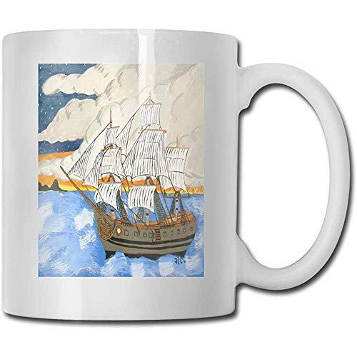 Nautische Piratenschiff Ölgemälde besten Vatertag Geschenkideen für Kaffeetassen lustige Gegenwart Becher Persönlichkeit trinken Tasse 11 Unze (330 ml)