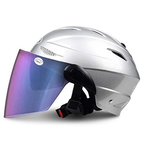 Outo Heren en vrouwen zomer halve afdekking licht ademend universele motorhelm elektrische helm met kleurlens
