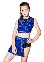 スパンコール ダンス衣装 チアダンス 衣装 女の子 ヒップホップ チア チアガール 衣装 ヒップホップ ジャズダンス 衣装 (ブルー, 150)