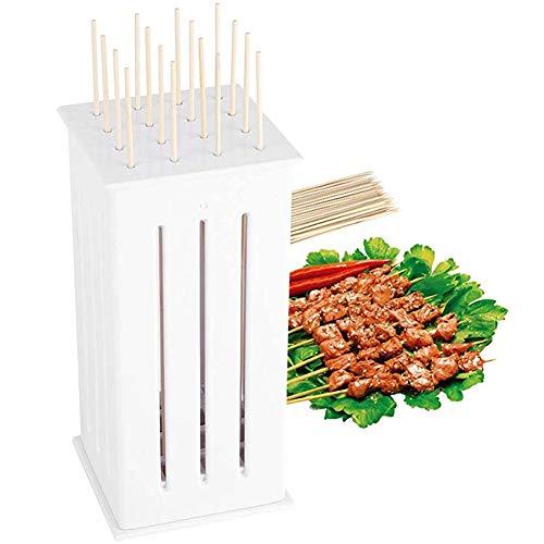Haplws Urisgo Herramientas para Barbacoa Caja de Pinchos portátil de 16 Agujeros Caja de Comida Asada Parrilla de plástico para Asar Shish Kabab Brocheta Kabob Caja para Hacer brochetas