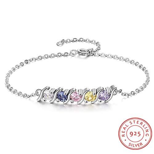 GYXYZB Gepersonaliseerde 925 sterling zilveren armband met 5 geboortesteen ronde zirkonia bedelarmbanden fijne sieraden