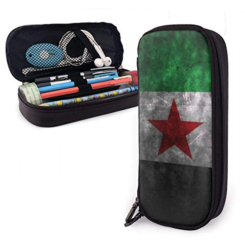Bolsas De Lápices,Estuche De Lápices De Cuero Con Bandera De Siria 3D Estuche De Almacenamiento Simple Estuche De Viaje Estuche Para Lápices Para Hombres Mujeres,20X9X4Cm