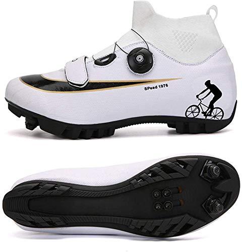 JINFAN Zapatillas De Ciclismo MTB para Hombre,Zapatillas De Ciclismo De Montaña con Candados Zapatillas Deportivas De Invierno para Hombres Y Mujeres/Suelas De Nailon,Whiteb-EU43