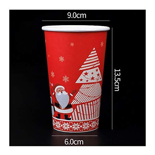 Lucky 100 wegwerp-papieren bekers (met deksel), milieuvriendelijke papieren beker, wegwerp-koffiekopjes, kopjes voor warme dranken met Kerstmis