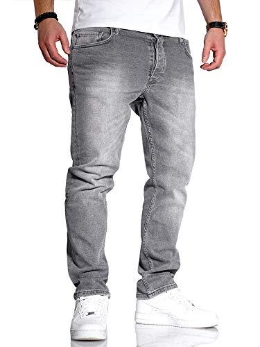 Rello & Reese Herren Jeans Straight Fit Denim Hose Regular Stetch JN-221 [Grau, W33/L34]