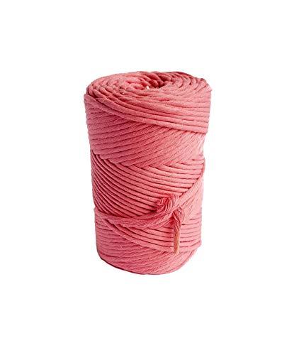 Cordón de macramé rosa de 3 mm, cuerda de algodón de 459 pies de una sola hebra de algodón para manualidades