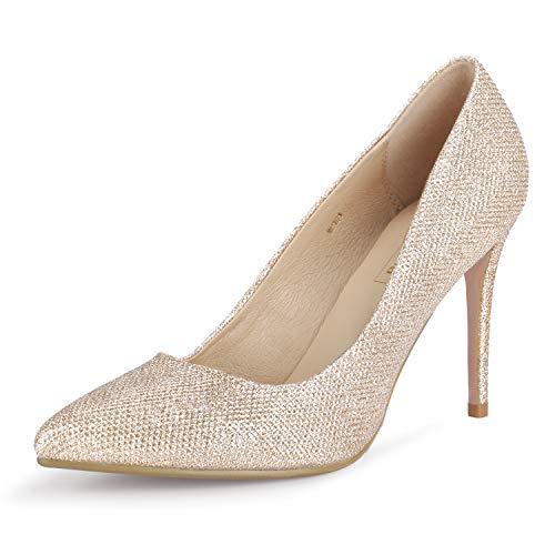 IDIFU Women's IN4 Classic Pointed Toe High Heels Pumps Wedding Dress Office Shoes (10 B(M) US, Gold Glitter)
