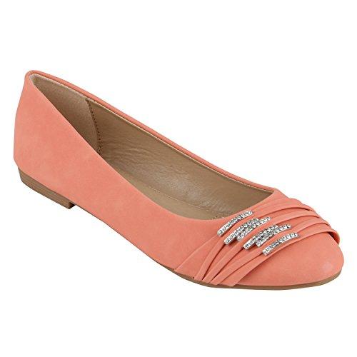 stiefelparadies Klassische Damen Strass Ballerinas Elegante Slipper Übergrößen Metallic Glitzer Flats Schuhe 141941 Coral 40 Flandell